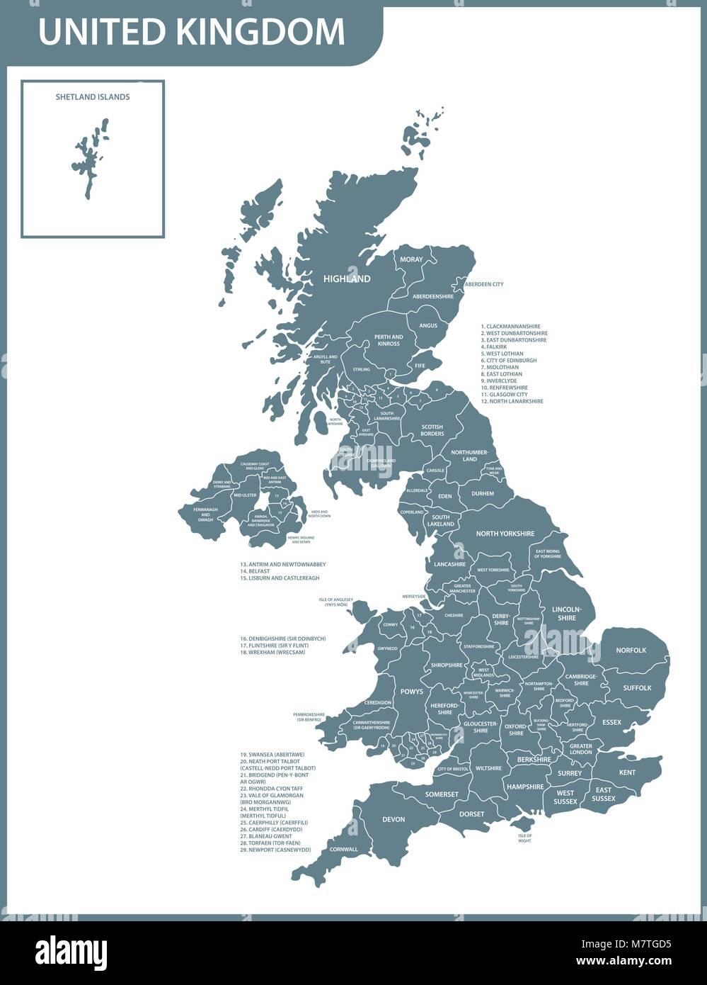 Cartina Geografica Politica Gran Bretagna.La Mappa Dettagliata Del Regno Unito Con Le Regioni O Gli Stati Membri Corrente Effettiva Pertinenti Regno Unito Gran Bretagna Devision Amministrativa Immagine E Vettoriale Alamy
