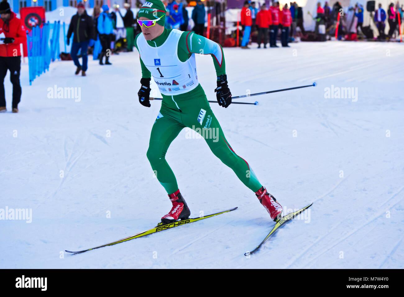 Cross country sciatore Anders Gløersen, Norvegia, alla 38. Engadin Skimarathon sprint notturna, 9 marzo 2018, Immagini Stock