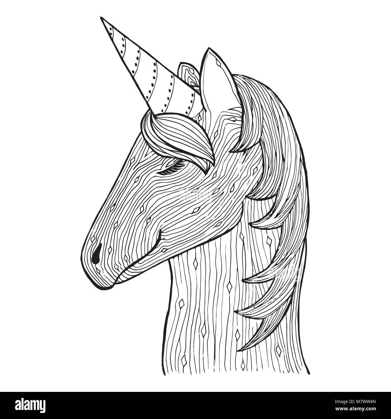 Groviglio Di Zen E Doodle Vettore Unicorn Zentangle Fata Animale