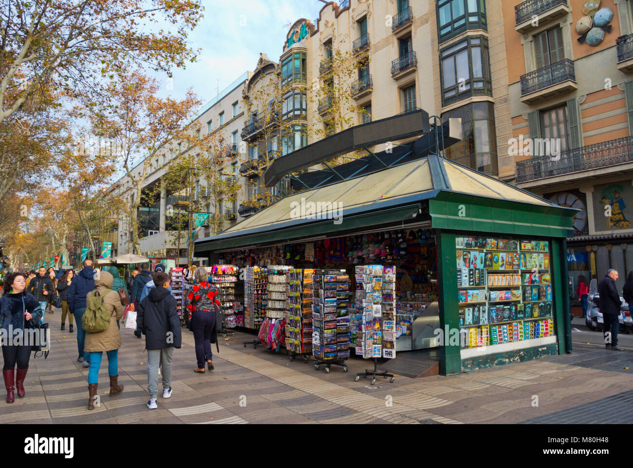 La Rambla, Las Ramblas, passeggiate, in inverno, Barcellona, in Catalogna, Spagna Immagini Stock