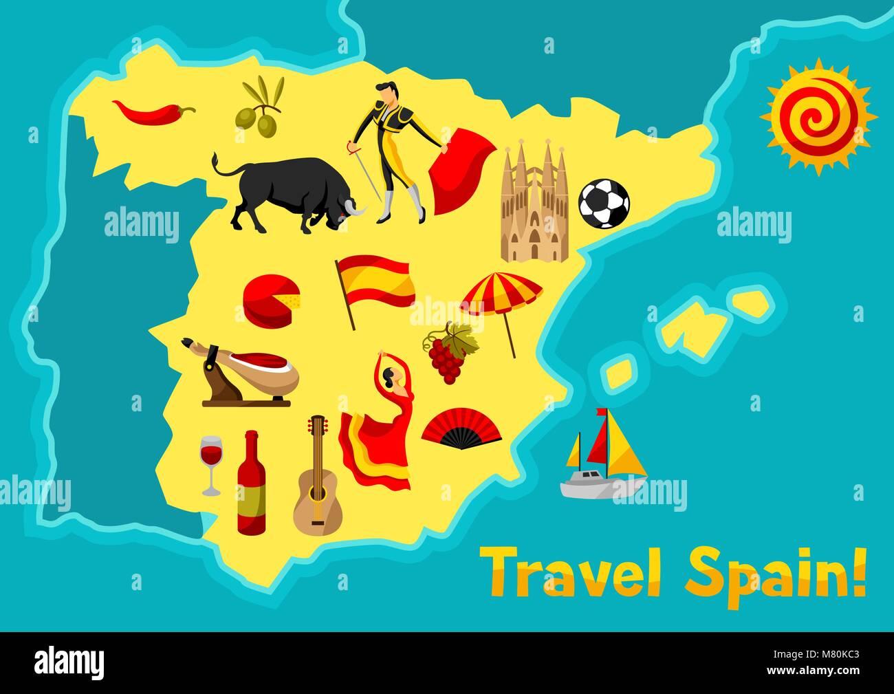 Cartina Turistica Spagna.Mappa Di Spagna Design Dello Sfondo Lo Spagnolo Simboli Tradizionali E Oggetti Immagine E Vettoriale Alamy
