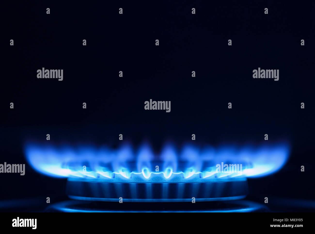 Fiamma a gas su di un piano di cottura della cucina, Close Up Foto Stock