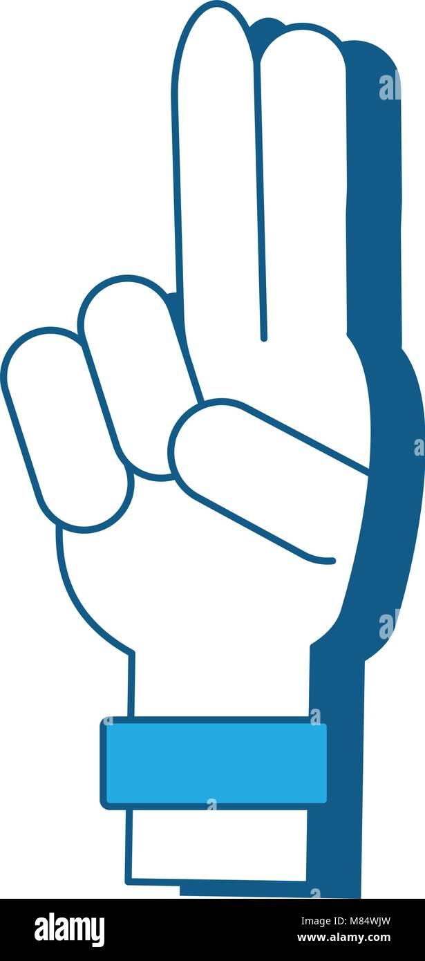 Mano con due dita in su su sfondo bianco, illustrazione vettoriale Illustrazione Vettoriale