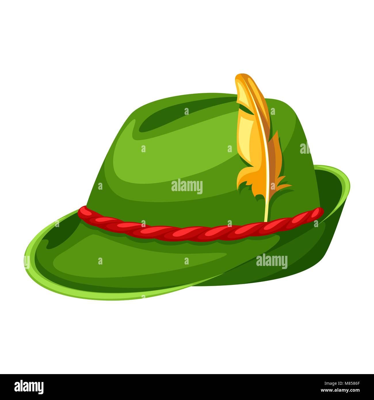 La caccia con cappello di piume e corda. Illustrazione per Oktoberfest  Immagini Stock 8282edbff869