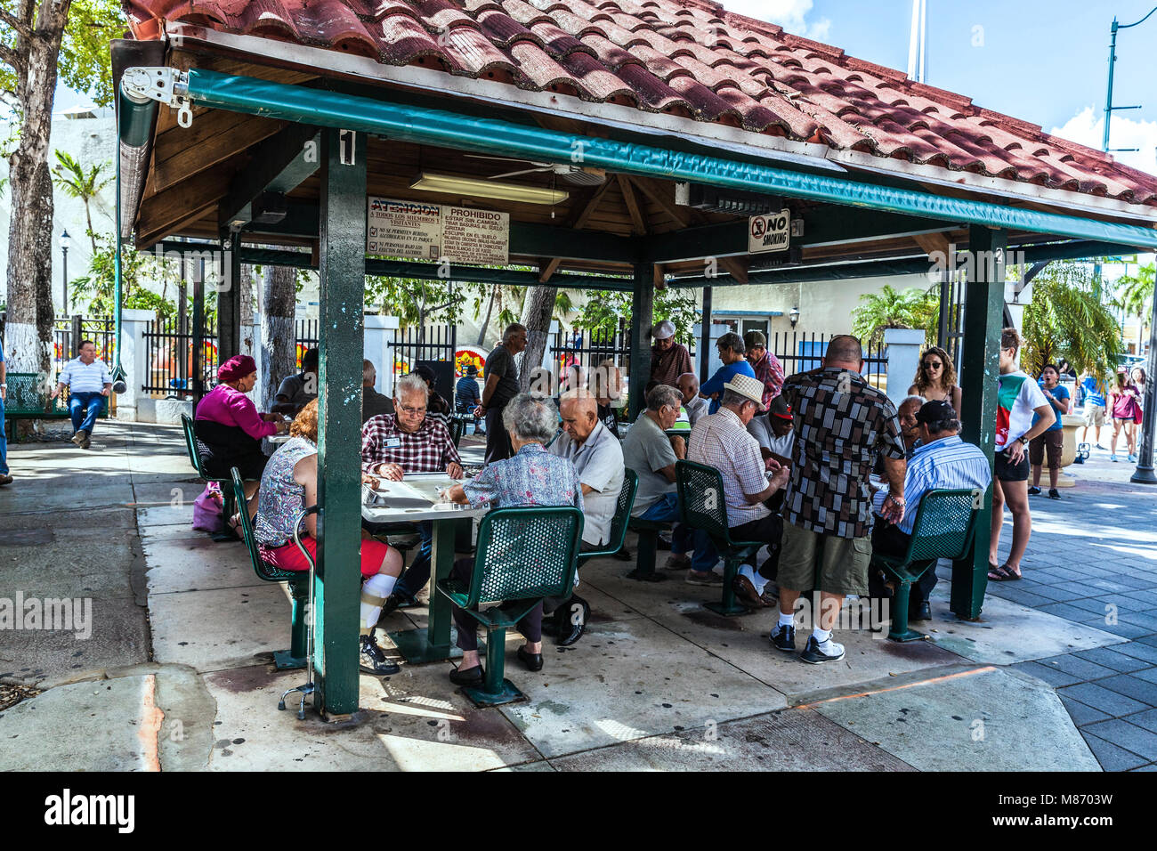 Anziani cubano-americana di persone a Domino Park, Calle Ocho, Miami, Florida, Stati Uniti d'America. Immagini Stock