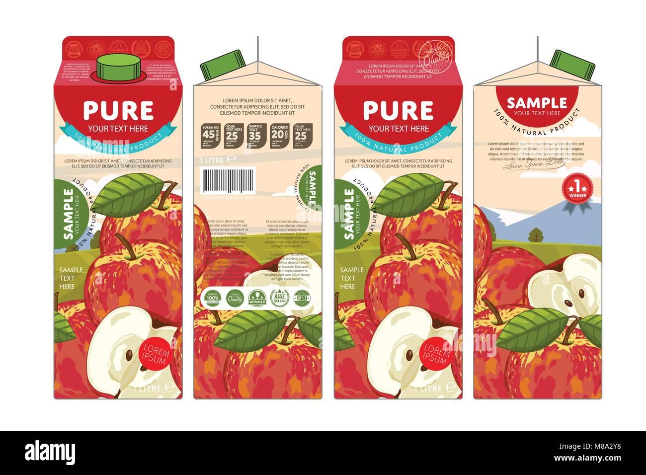 Modello di progettazione di confezionamento di succo di mela Immagini Stock