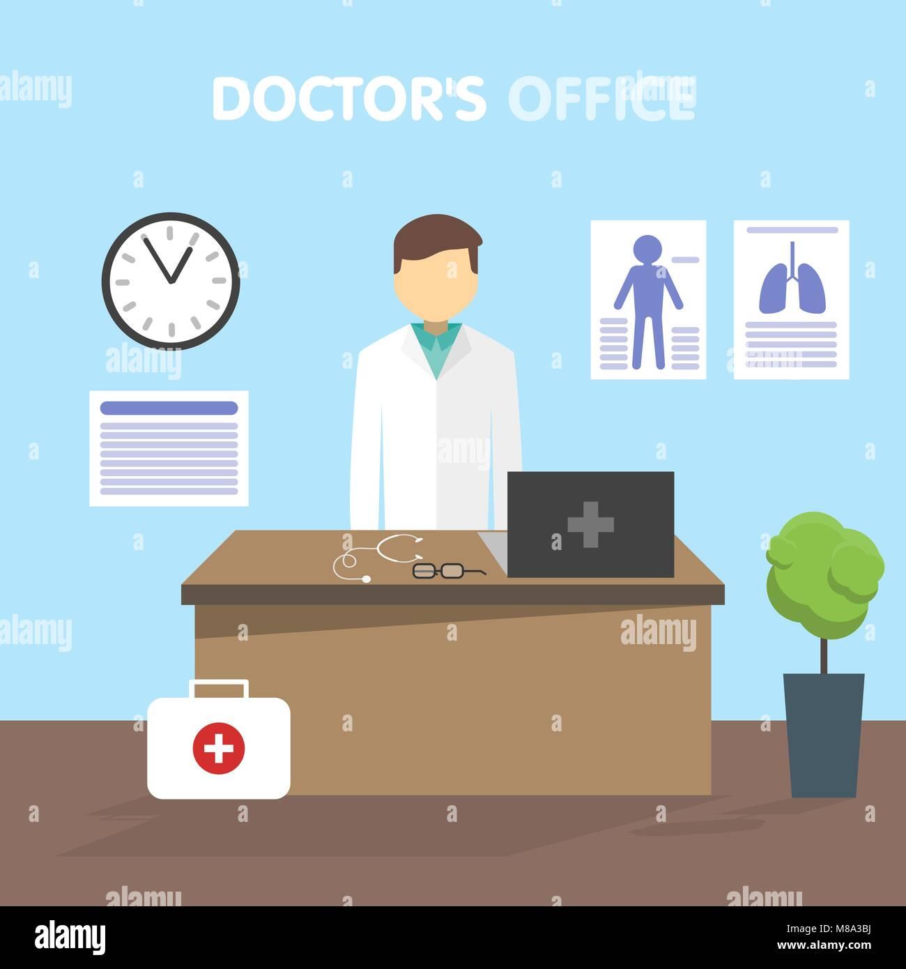 Luogo di lavoro medico, illustrazione vettoriale Illustrazione Vettoriale