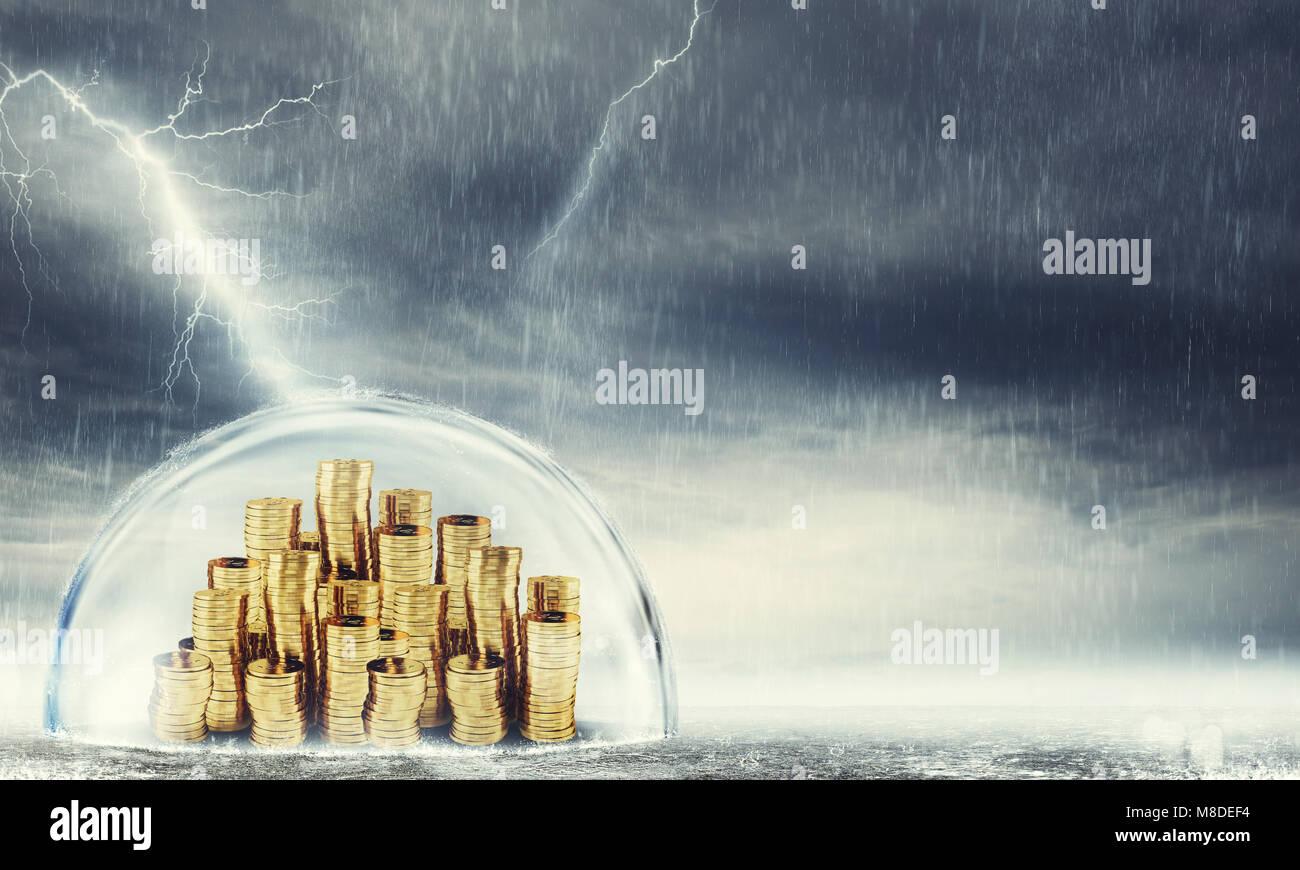Proteggere il risparmio. Concetto di assicurazione e protezione di denaro. Il rendering 3D Immagini Stock