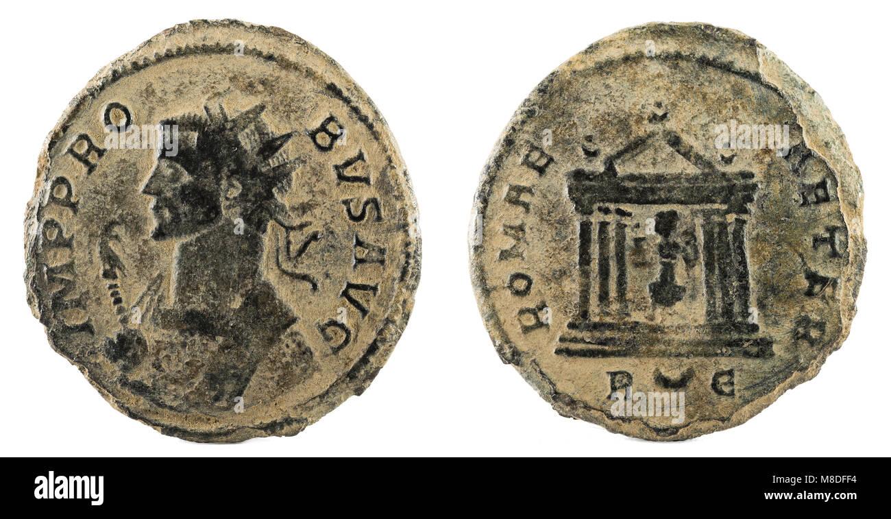 cd293479b7 Romana antica moneta di rame dell'Imperatore Probo. Immagini Stock