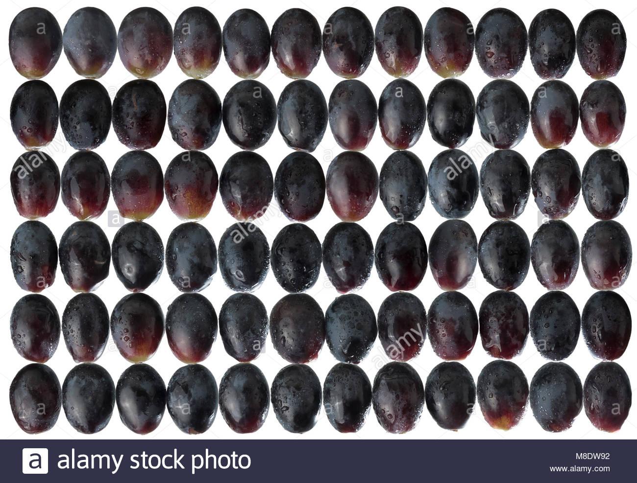 Uva nera in un disegno geometrico. Retroilluminati e di acqua spruzzata per un'immagine luminosa. Immagini Stock