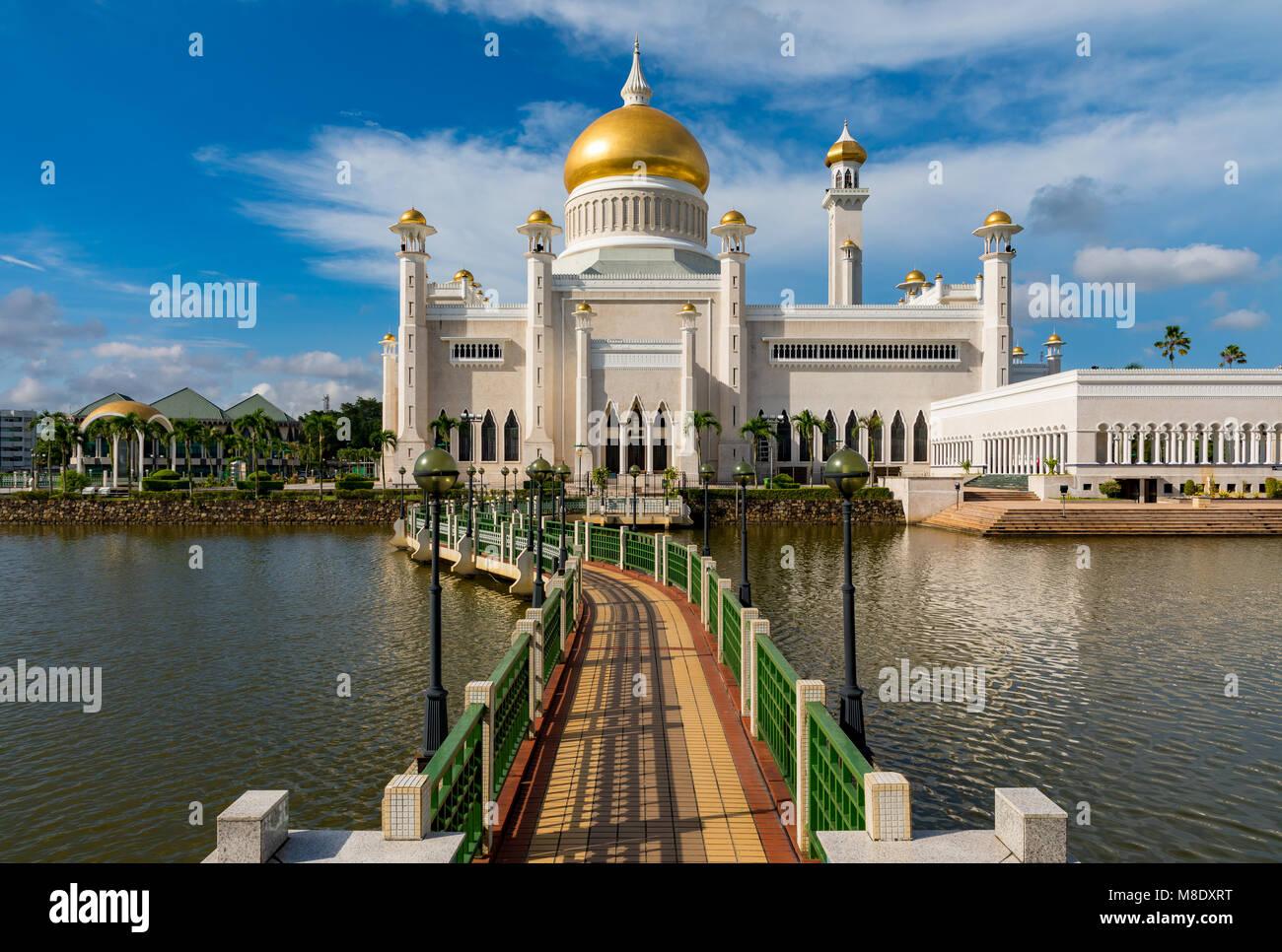 Brunei Darussalam Bandar Seri Begawan Sultan Moschea di Omar Ali Saifuddien Marzo 15, 2018 uno di Brunei è Immagini Stock