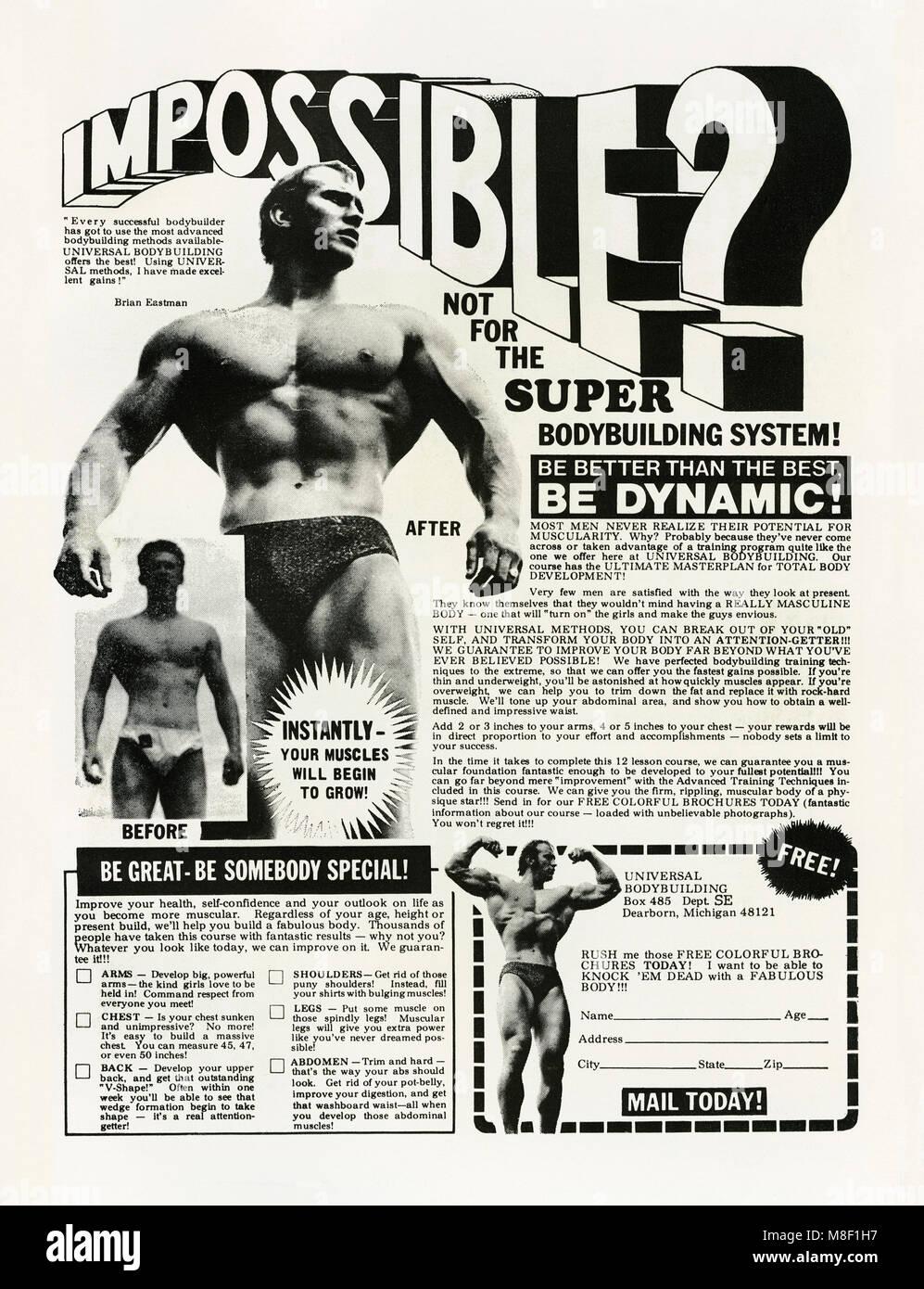 Un 1975 annuncio universale per il Bodybuilding con Brian Eastman. È apparso in un American bambini il fumetto. Immagini Stock