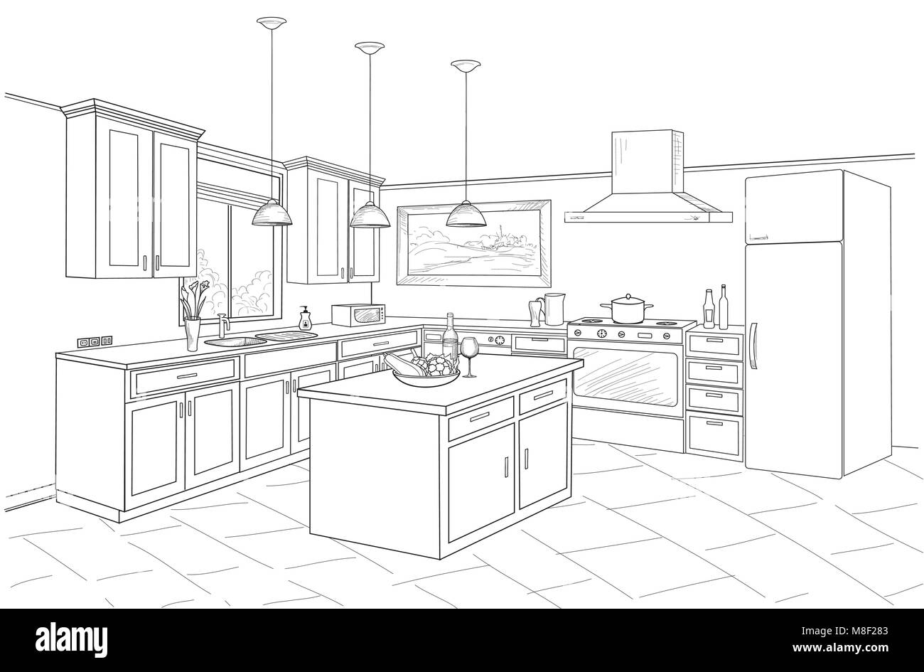 Schizzo interno della camera con cucina. Schema progetto di una ...