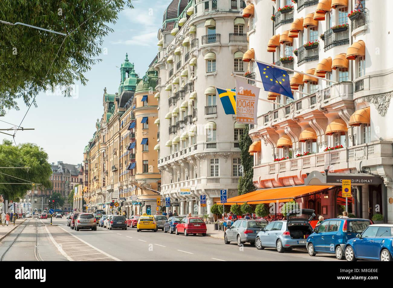 Una strada elegante strandvägen a stoccolma alcuni dei più