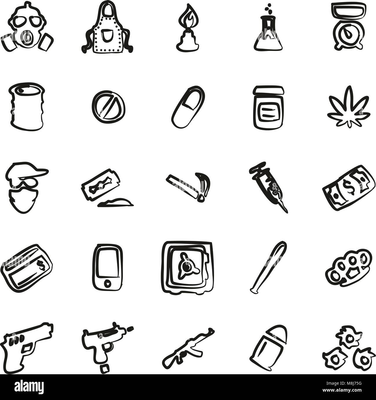 Farmaco icone del cartello di Freehand Immagini Stock