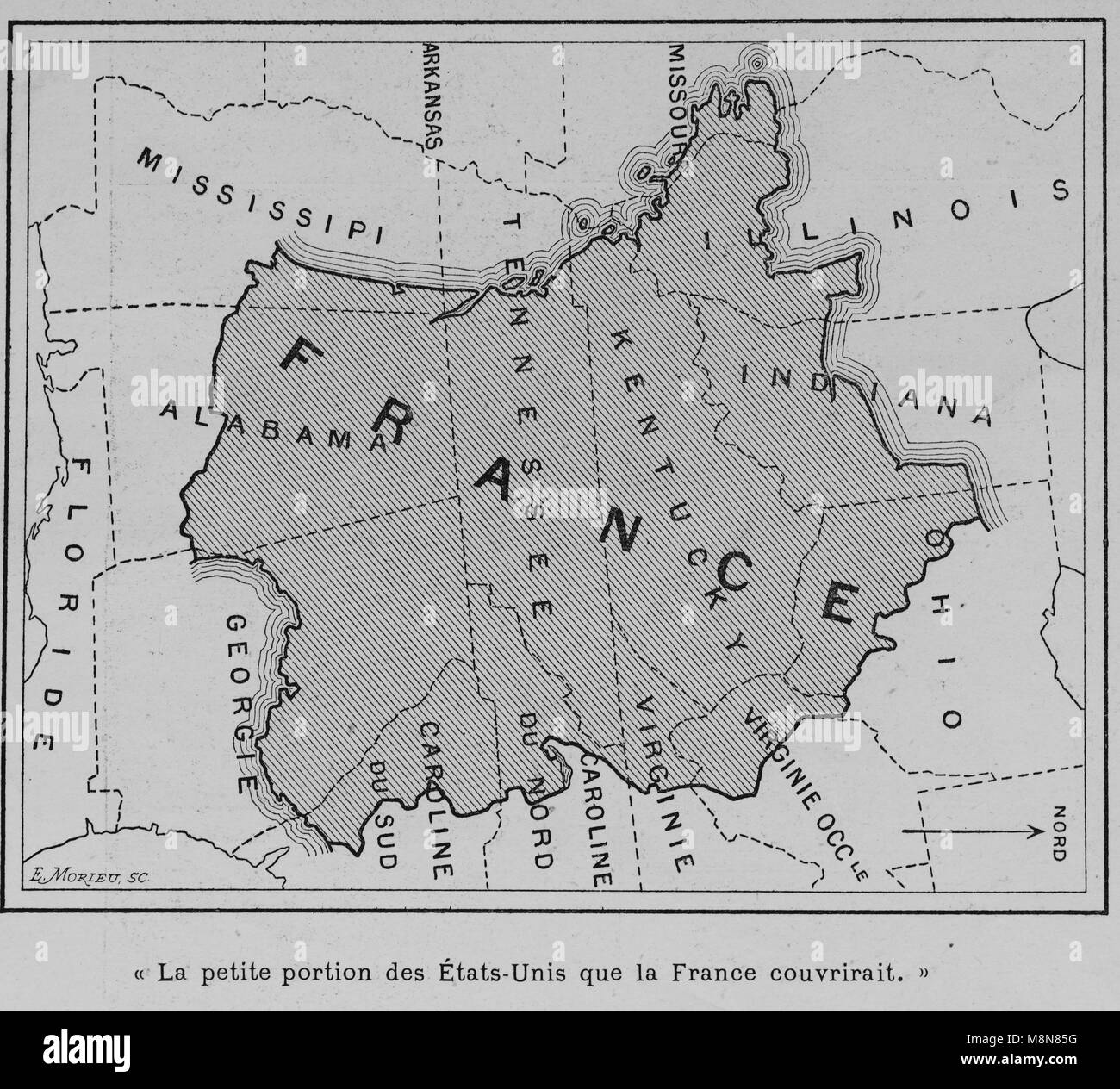 Mappa degli Stati Uniti d'America nel 1900 confrontando il paese con la Francia, immagine dal settimanale francese Immagini Stock