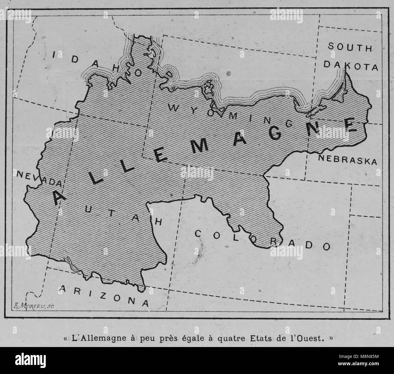 Mappa degli Stati Uniti d'America nel 1900 confrontando il paese con la Germania, immagine dal settimanale francese Immagini Stock