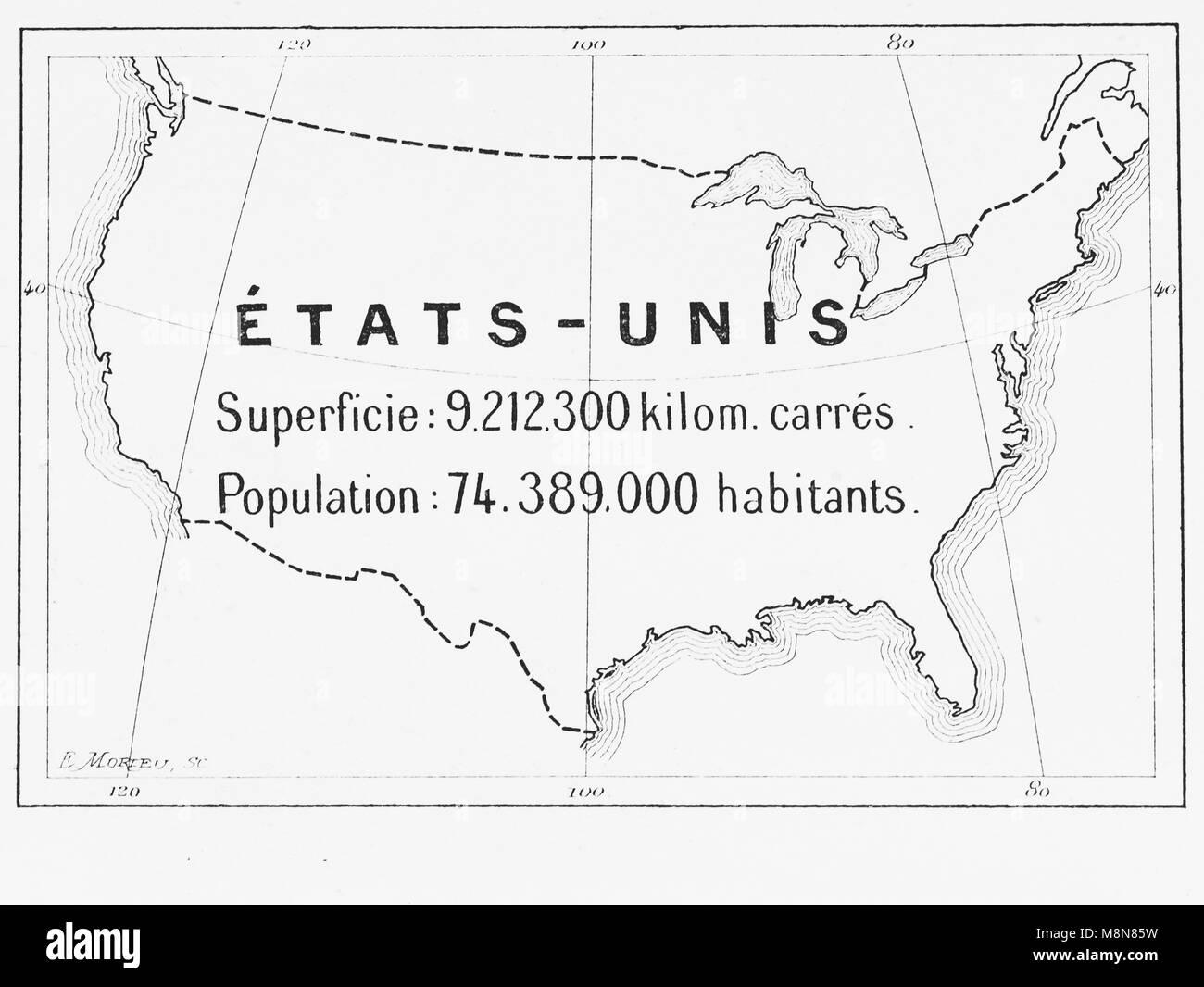 Mappa degli Stati Uniti nel 1900, Immagine dal settimanale francese quotidiano l'illustrazione, 27 Ottobre 1900 Immagini Stock