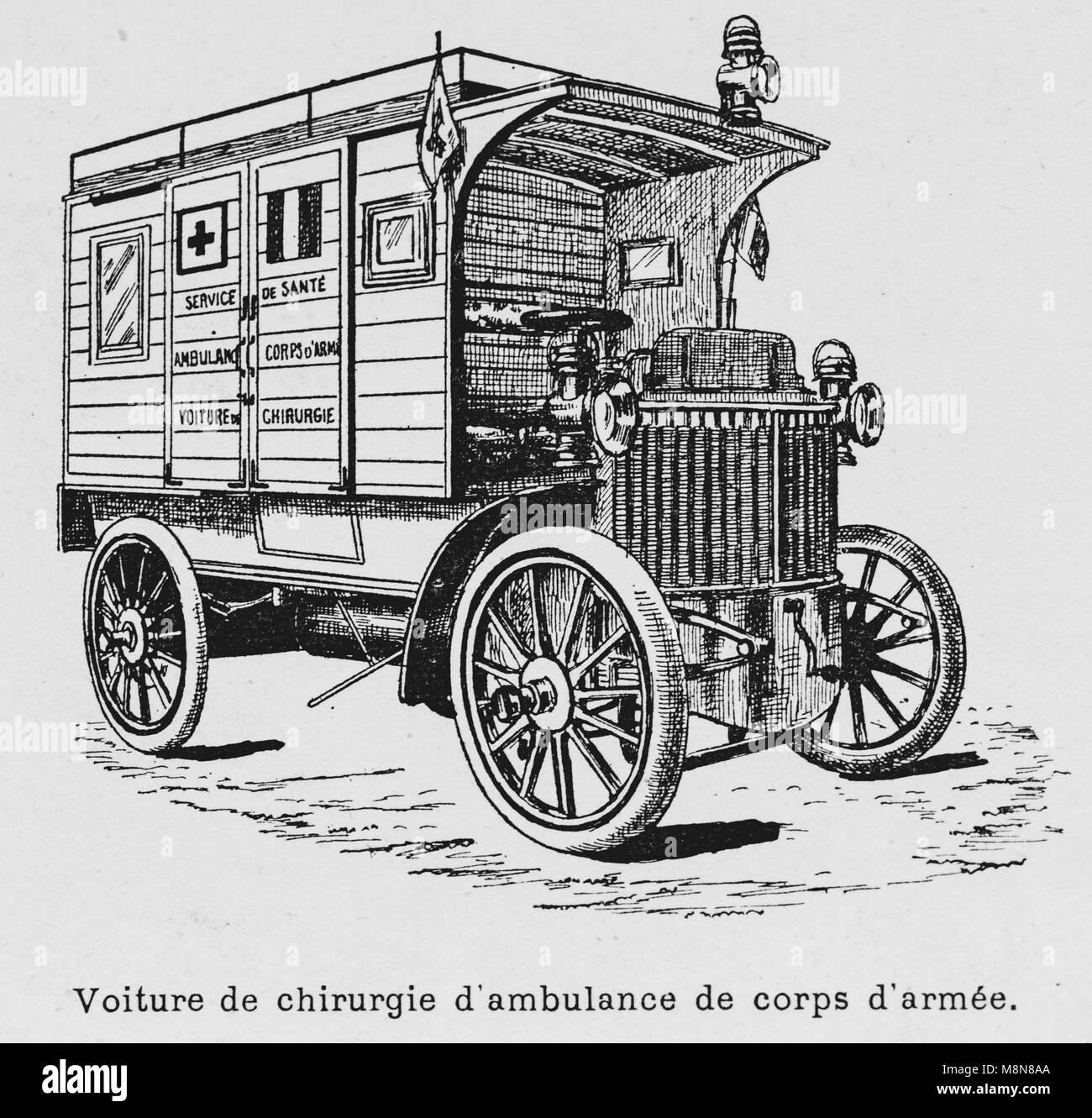 I veicoli militari durante il 1900 francese esercizio militare, ambulanza, immagine dal settimanale francese quotidiano Immagini Stock