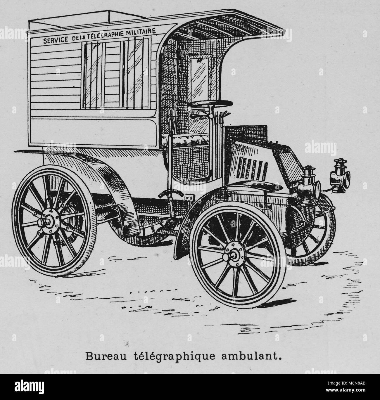 I veicoli militari durante il 1900 francese esercizio militare, Telegrafo veicolo, immagine dal settimanale francese Immagini Stock