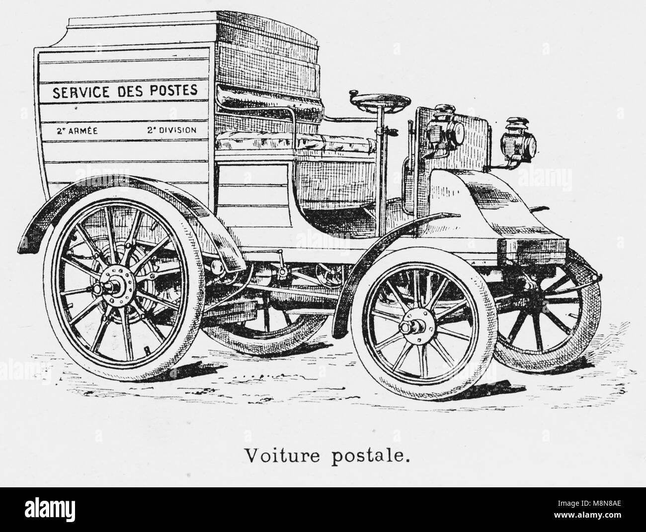 I veicoli militari durante il 1900 francese esercizio militare, veicolo postale, immagine dal settimanale francese Immagini Stock