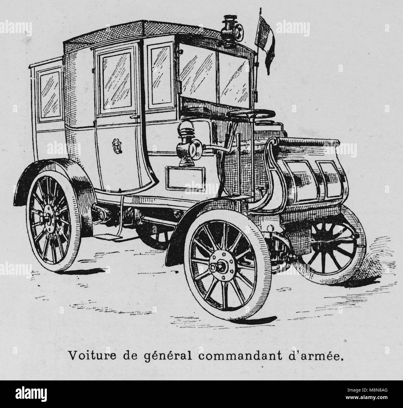I veicoli militari durante il 1900 francese esercizio militare, veicolo Generale, Immagine dal settimanale francese Immagini Stock