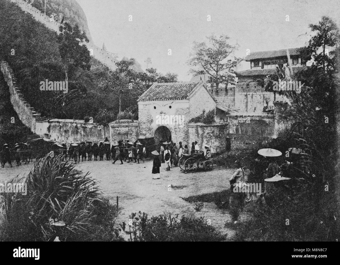 Inaugurazione della ferrovia costruita dalla Francia tra Hanoi e Cina nel 1900, Immagine dal settimanale francese Immagini Stock