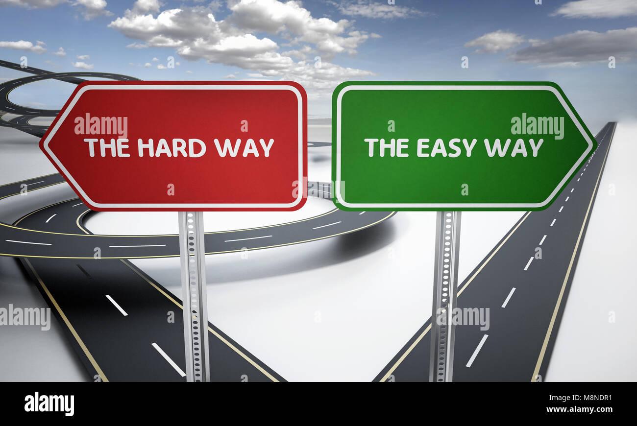 Il modo più semplice e il modo difficile cartelli con curve e le strade diritte. 3D'illustrazione. Immagini Stock