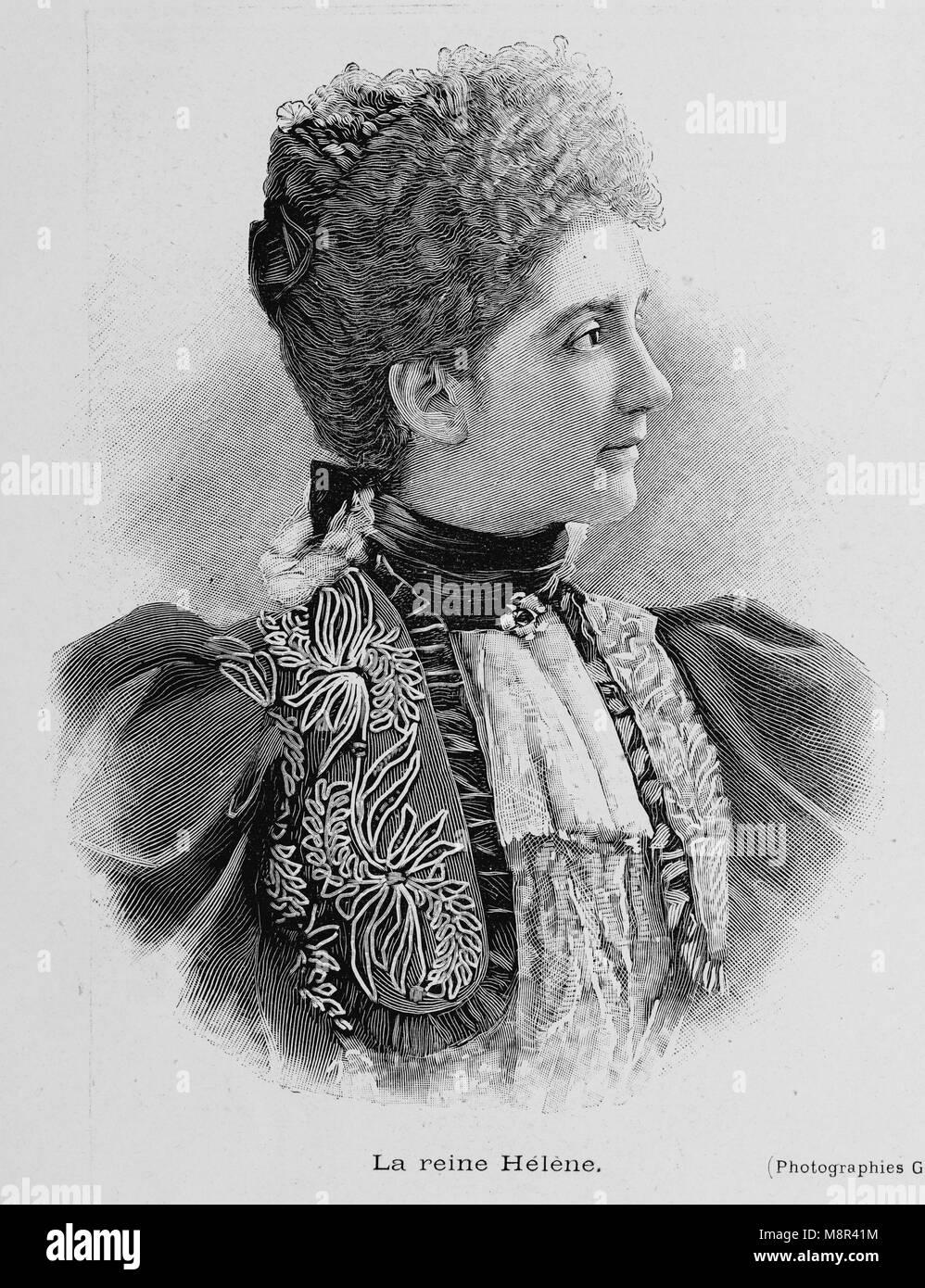 La regina Elena del Montenegro, la moglie del Re Vittorio Emanuele III d'Italia, immagine dal settimanale francese Immagini Stock