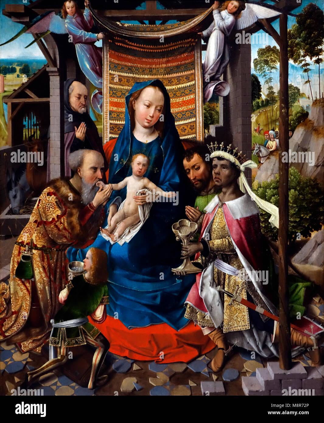 L Adorazione dei Magi, ca. 1500 olio su pannello dipinto da Early Netherlandish pittore Colijn de Coter Immagini Stock
