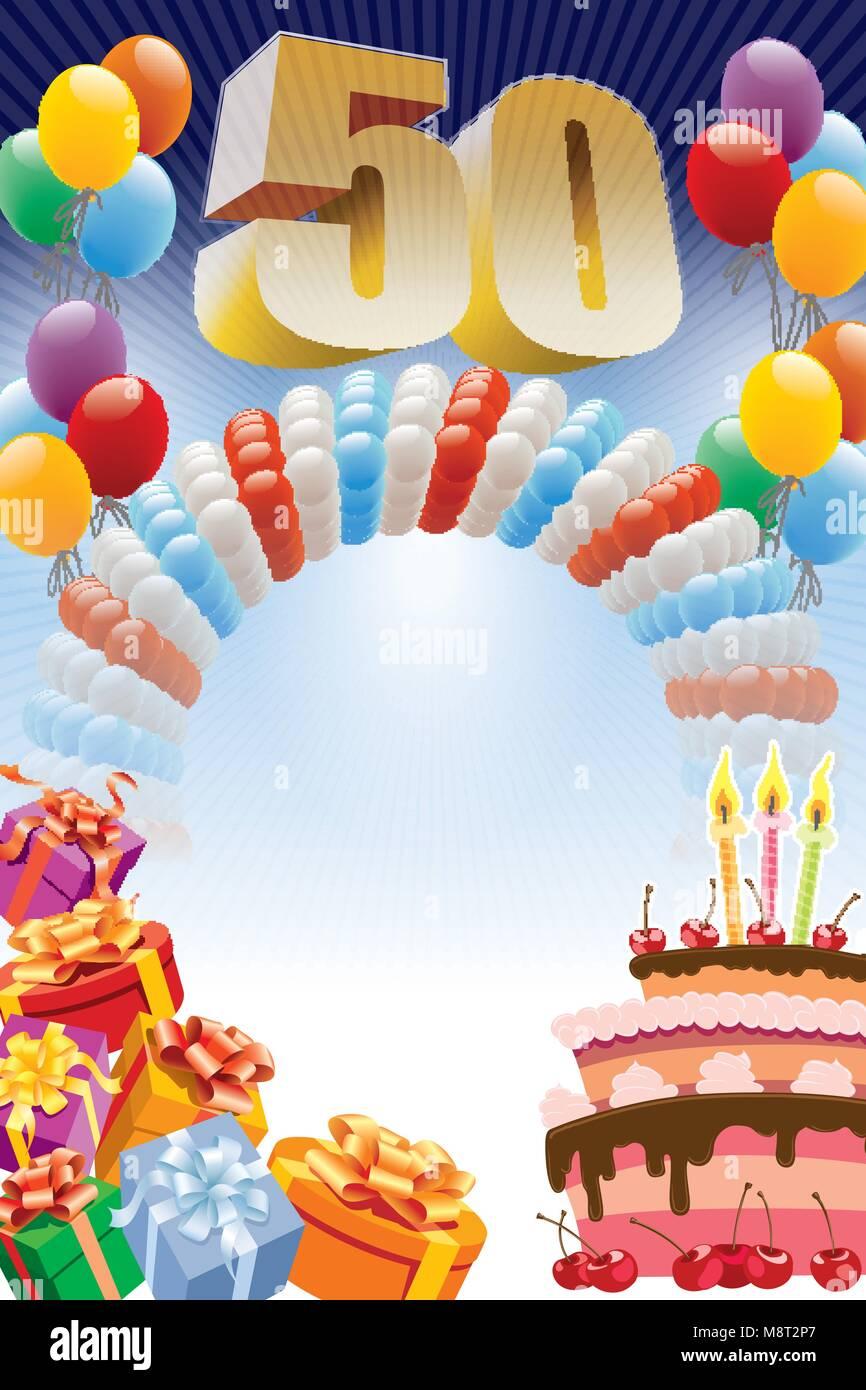 Sfondo Con Elementi Di Design E La Torta Di Compleanno Il Poster O