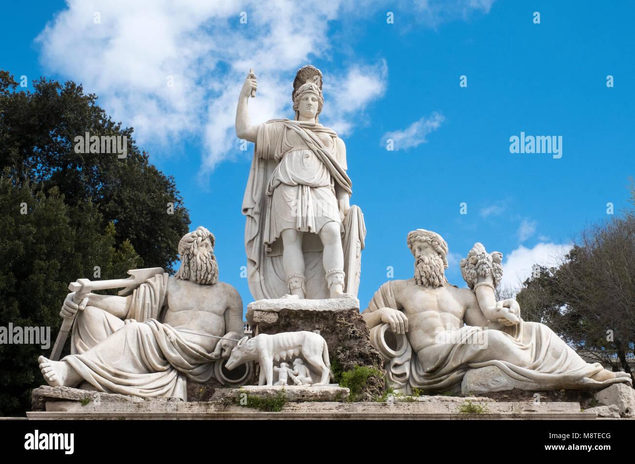 """La scultura chiamato """"Fontana della dea di Roma"""" in Piazza del Popolo a Roma Italia. Immagini Stock"""