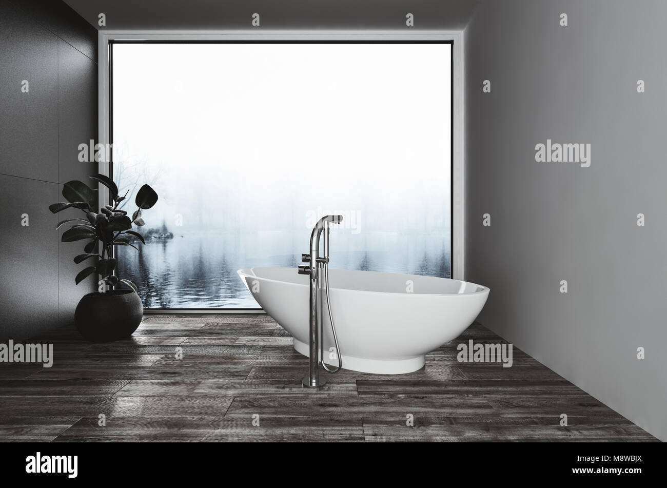 Vasca Da Bagno Stretta : Moderna imbarcazione a forma di vasca da bagno in un bagno angolo