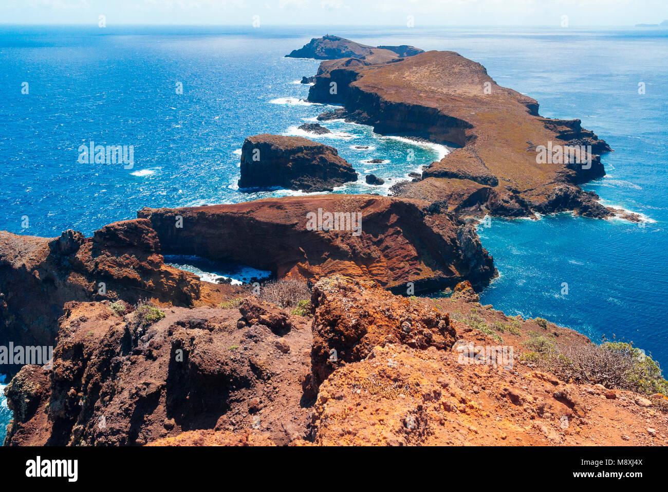 Il promontorio di Ponta de Sao Lourenco alla punta più orientale di Madeira Immagini Stock