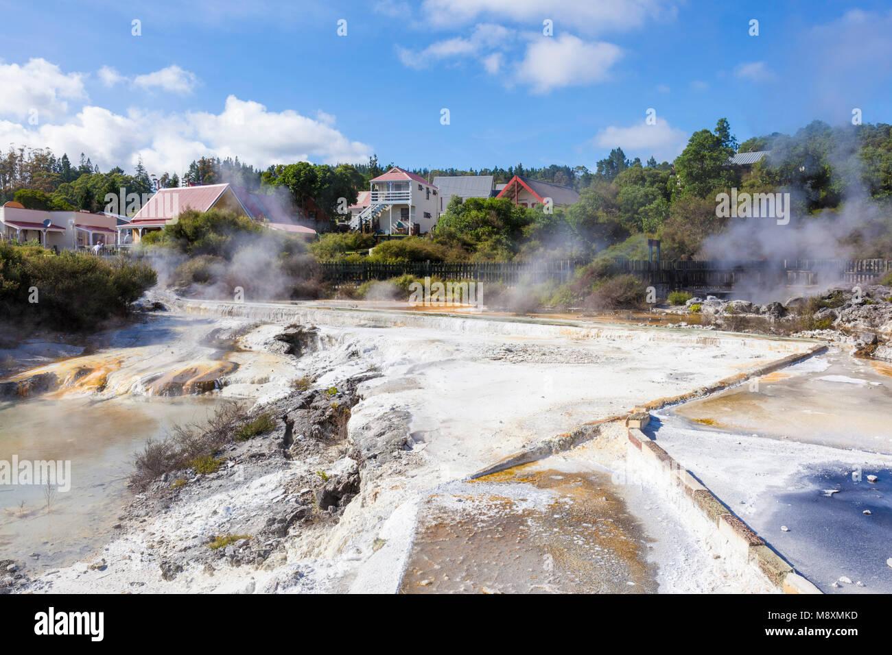 Nuova Zelanda Rotorua Nuova Zelanda whakarewarewa rotorua terrazze con deposito di minerali run off dal pool parekohuru Immagini Stock