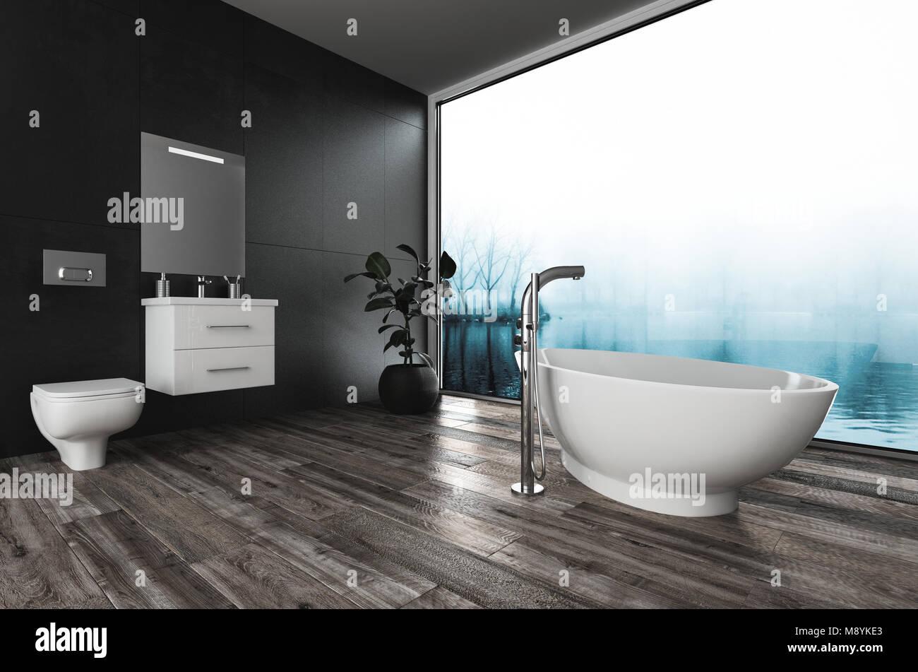 Grande e moderno bagno con bidet vanità e barca vasca sagomata su