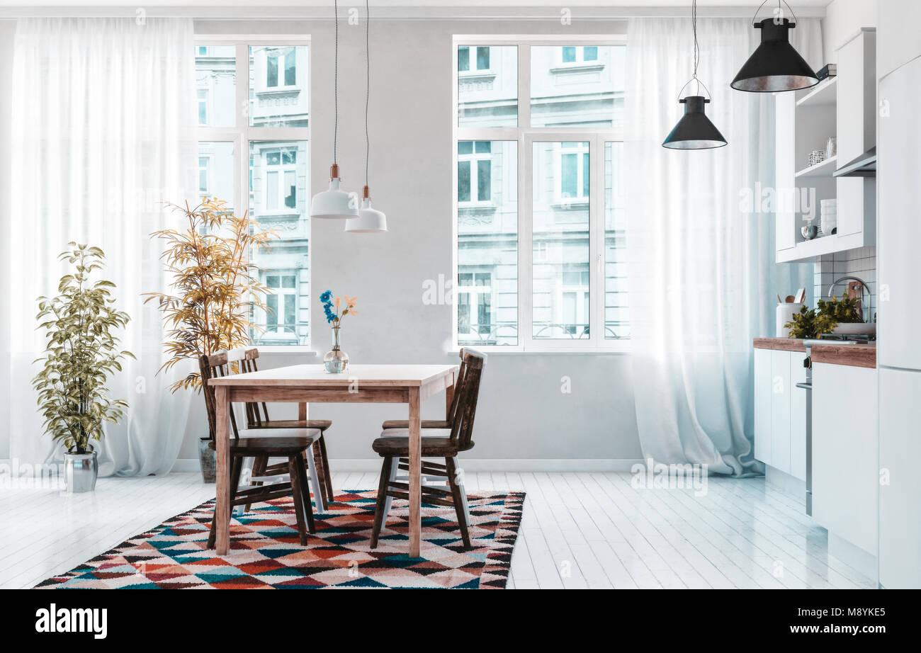 Aprire Il Piano Urbano Moderno Appartamento Angolo Cottura E Sala Da Pranzo Con Costruito In Armadi E Apparecchi Su Una Parete E Quattro Posti Tavolo E Sedie In Fro Foto Stock