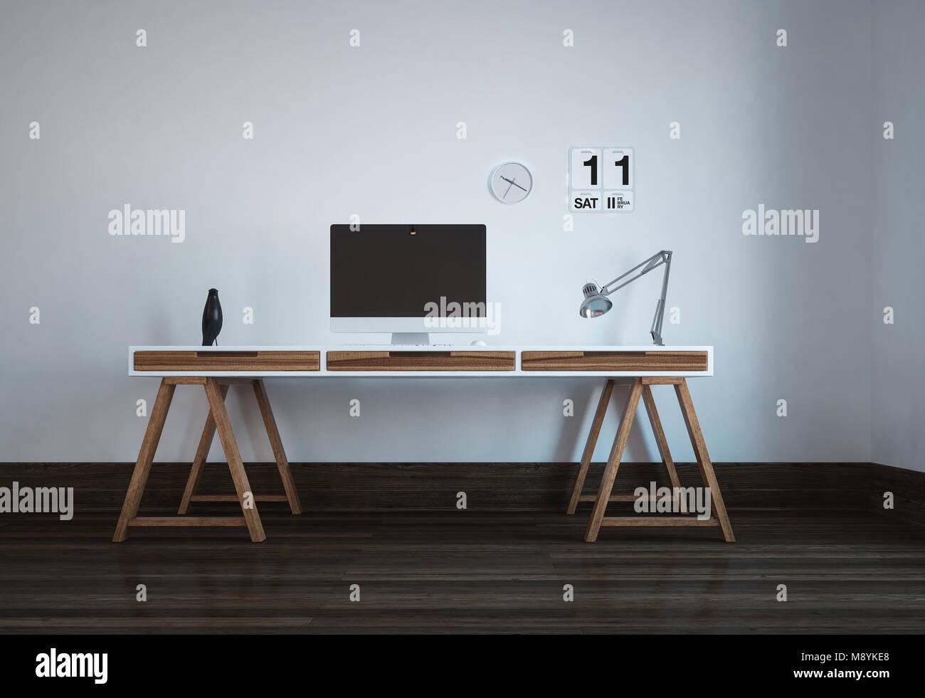 Ufficio Stile Moderno : Postazione di lavoro ordinata in uno stile minimalista moderno