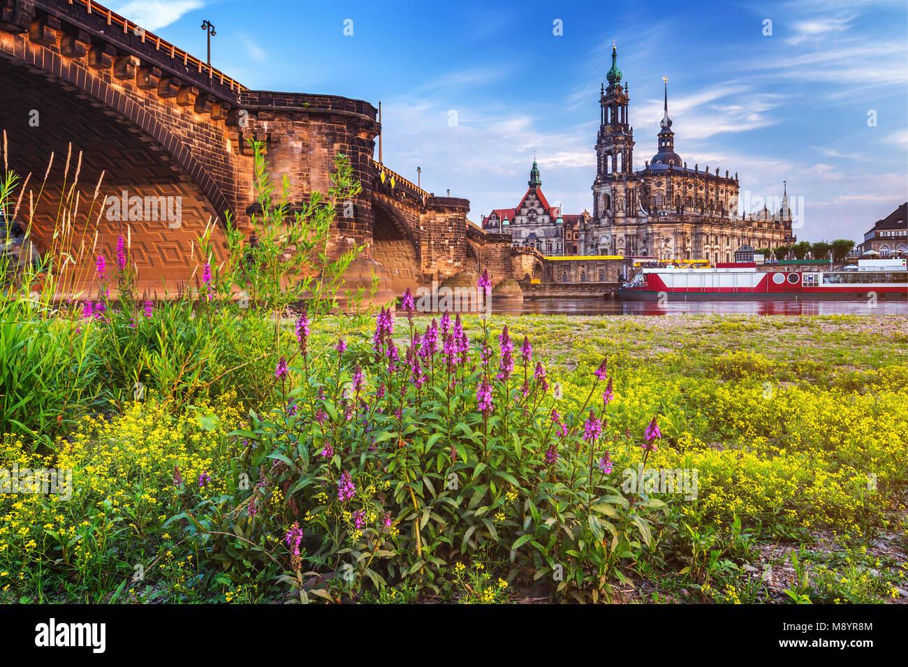 Scenic estate vista della città vecchia architettura con fiume Elba terrapieno a Dresda in Sassonia, Germania Immagini Stock