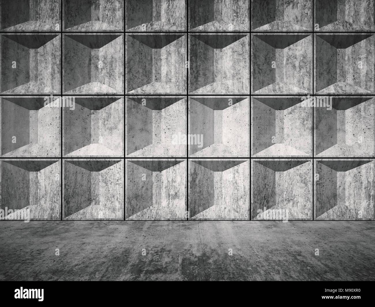Abstract di cemento vuote sala interna con una decorazione