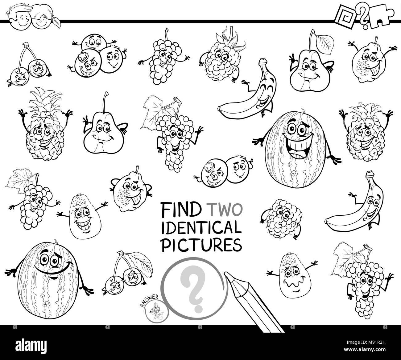 Bianco E Nero Cartoon Illustrazione Di Trovare Due Immagini