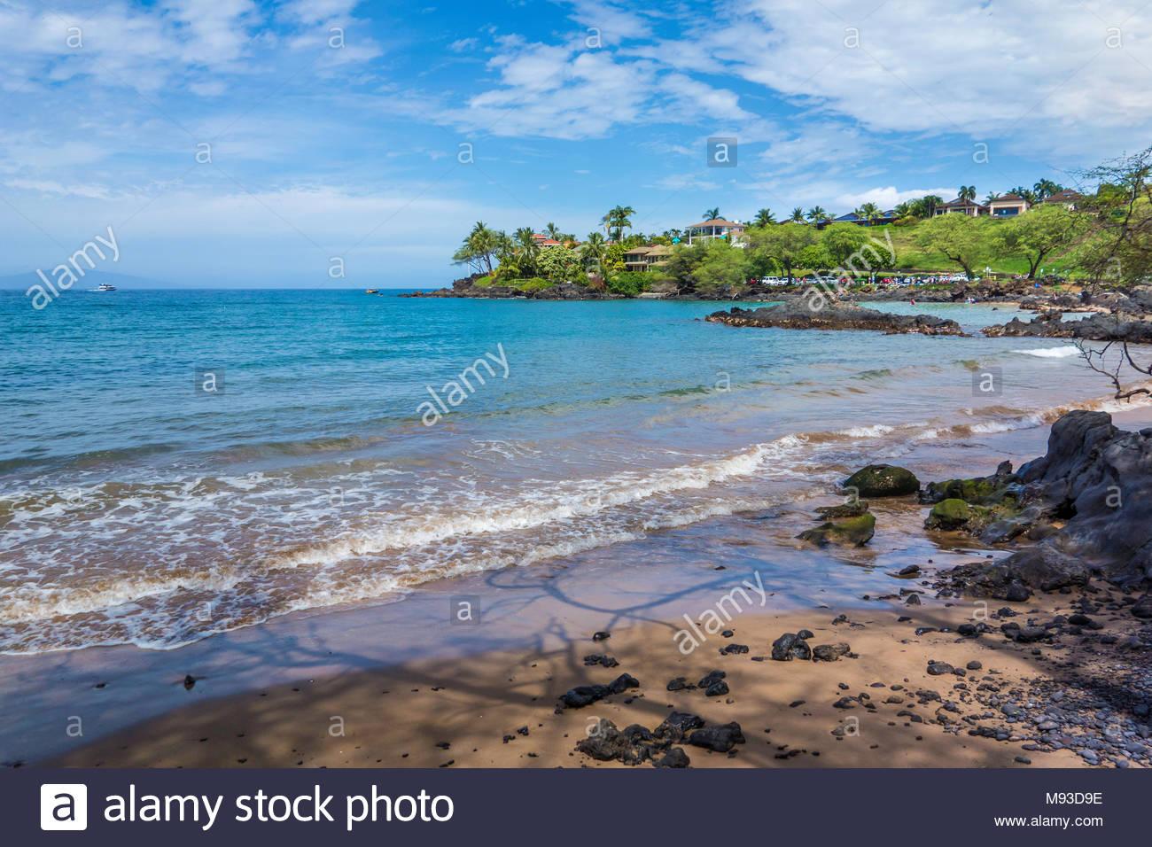 Fuori del modo Makena Landing Beach Park sull'isola di Maui nello stato delle Hawaii USA Immagini Stock