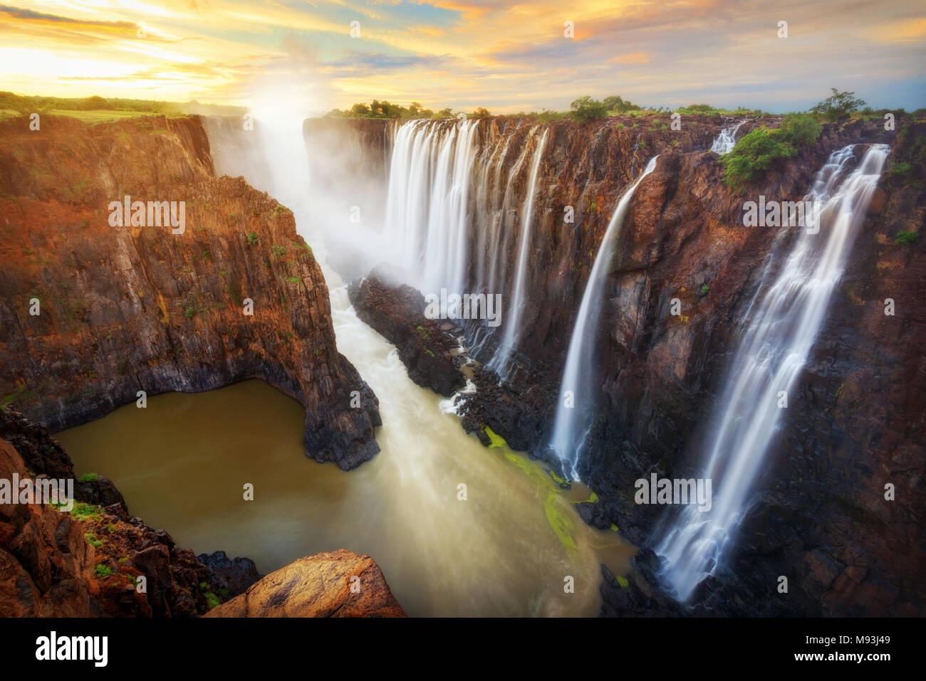 Victoria Falls nello Zambia e Zimbabwe adottate nel 2015 Immagini Stock