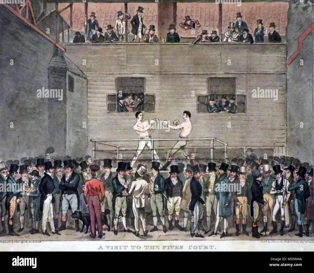 Incontro di Boxe a cinque Corti, Londra, circa 1815 Immagini Stock
