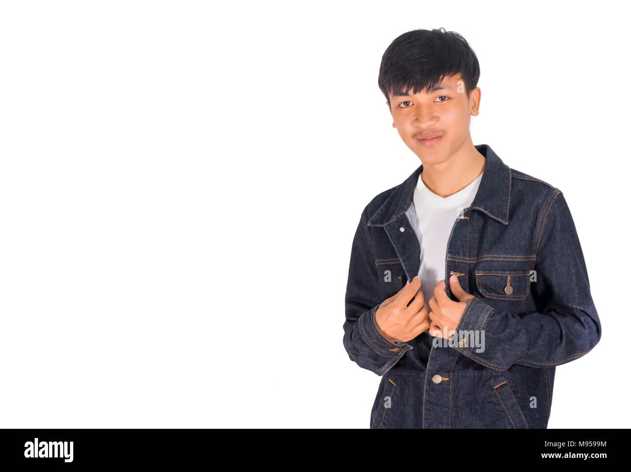 Foto Un Blu Di Uomo In La Ritratto Camicia Asiatico Il Scuro 8nONwPX0k