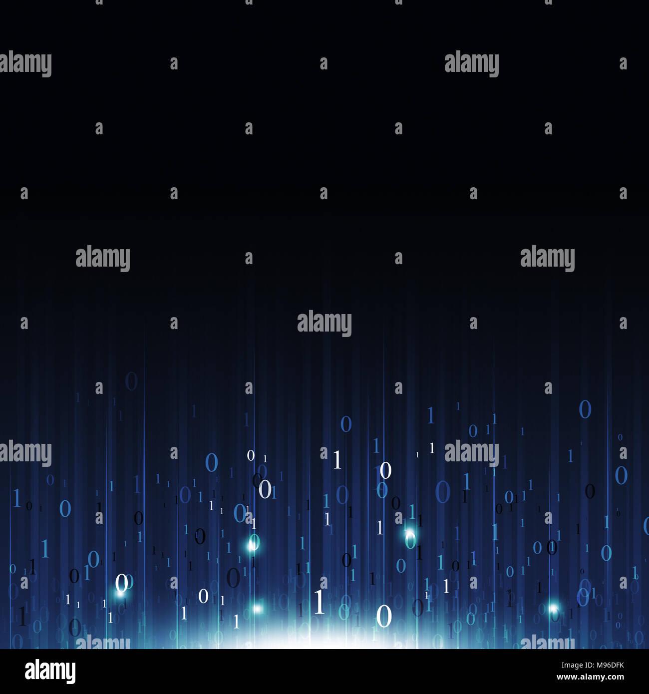Moto codice binario i numeri tecnologia concetto sfondo astratto Immagini Stock