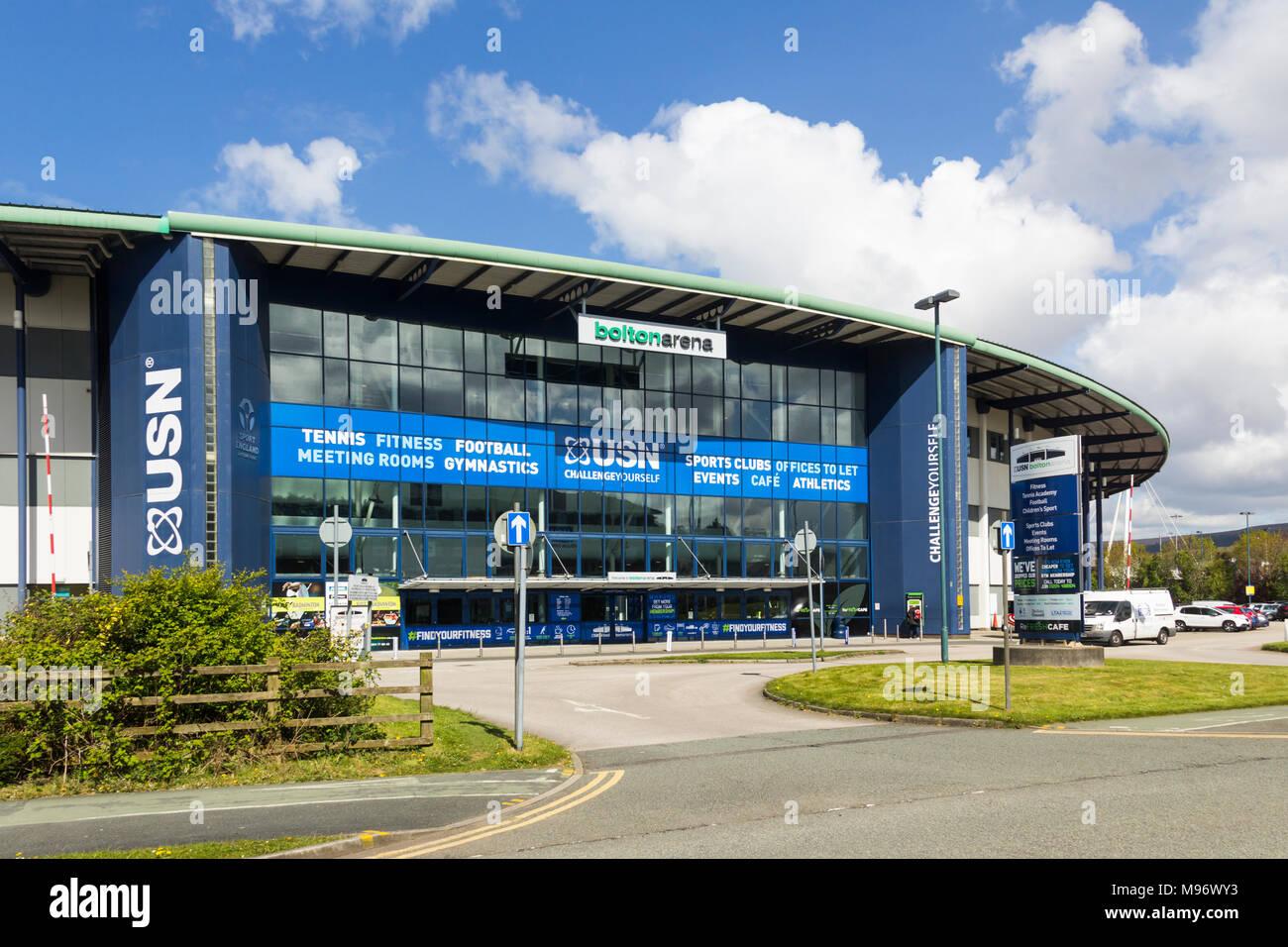 Bolton Arena indoor sports arena a Middlebrook Retail e Leisure Park, Horwich. I servizi includono centro fitness palestre, campi da tennis e calcio balilla. Immagini Stock