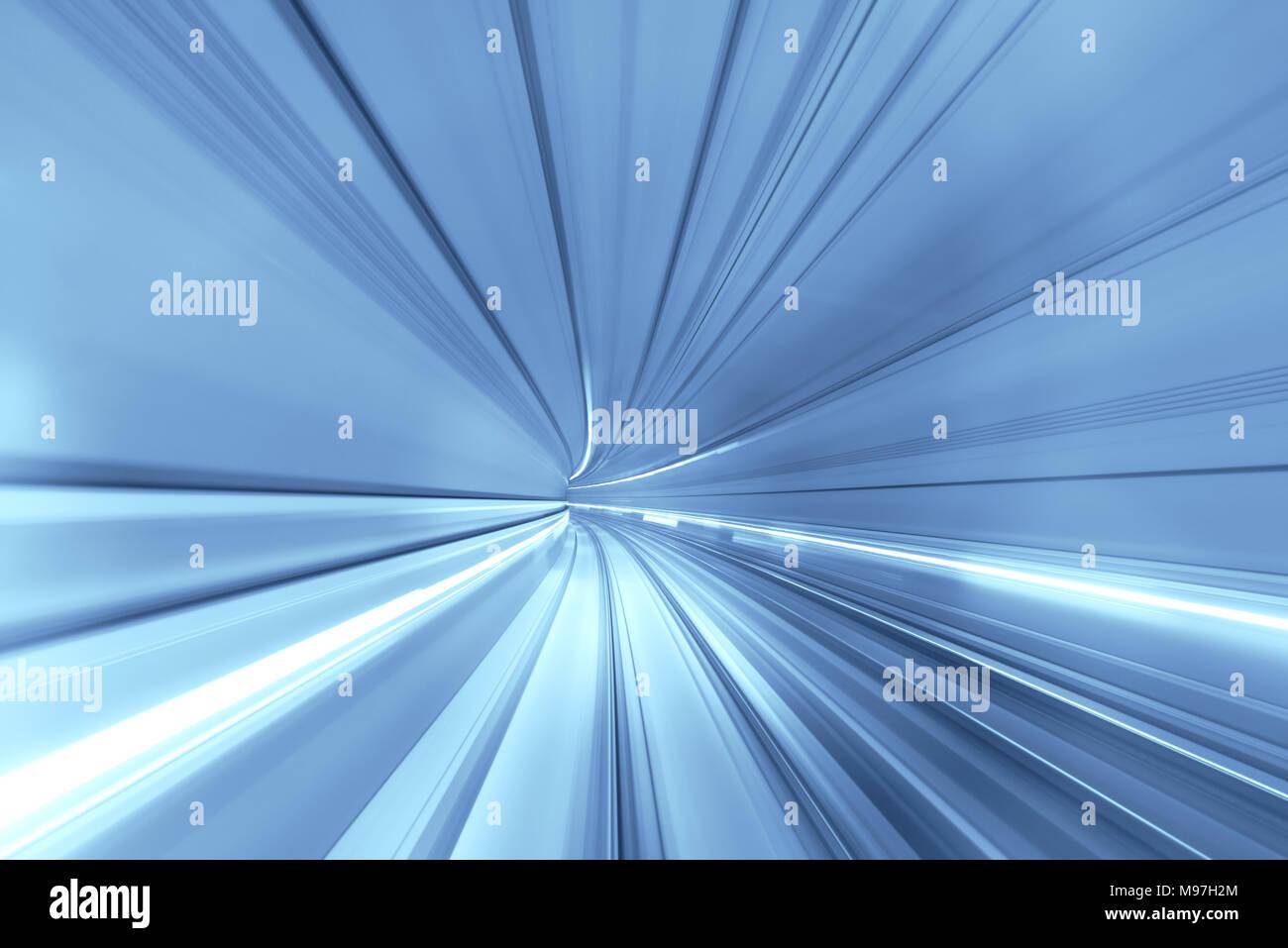 Velocità movimento sfocate di treno o metropolitana treno in movimento all'interno del tunnel. Immagini Stock