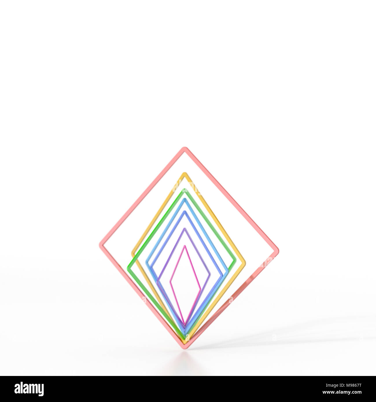 Abstract di bilanciamento quadrati colorati, rendering 3D Immagini Stock