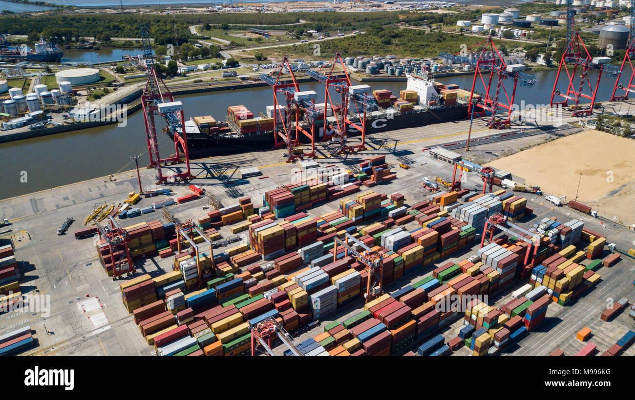 Exolgan Terminal Container, Dock Sud, Buenos Aires, Argentina Immagini Stock